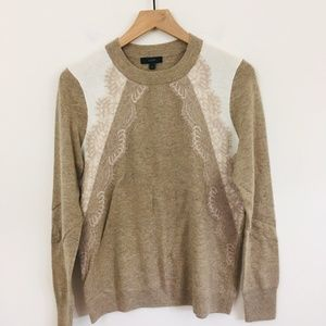 J.Crew Lace Colorblock Wool Blend Sweater Medium